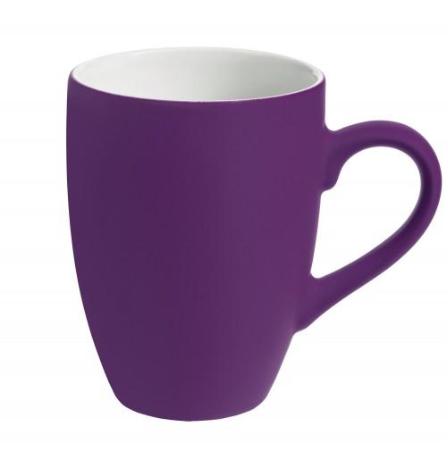 Кружка 320 мл, c покрытием софт-тач, фиолетовая, фаянс