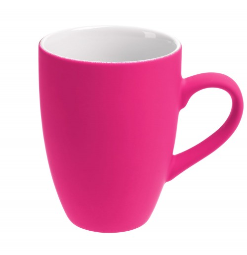 Кружка 320 мл, c покрытием софт-тач, ярко-розовая (фуксия), фаянс