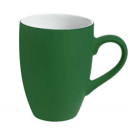 Кружка 320 мл, c покрытием софт-тач, зеленая, фаянс