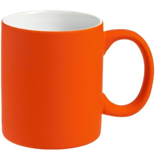 Кружка 340 мл, c покрытием софт-тач, оранжевая, фаянс