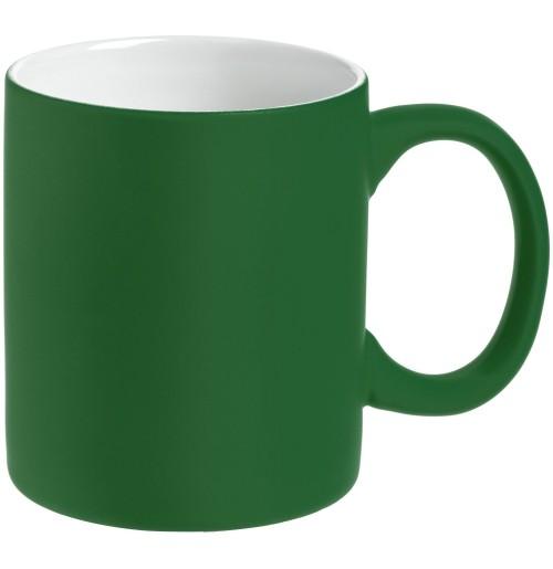Кружка 340 мл, c покрытием софт-тач, зеленая, фаянс