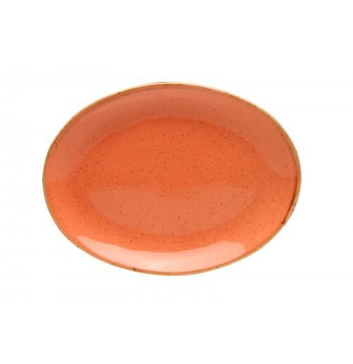 Блюдо овальное 18 см Seasons оранжевое, фарфор
