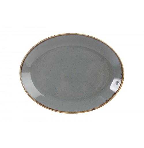 Блюдо овальное 24 см Seasons темно-серое, фарфор