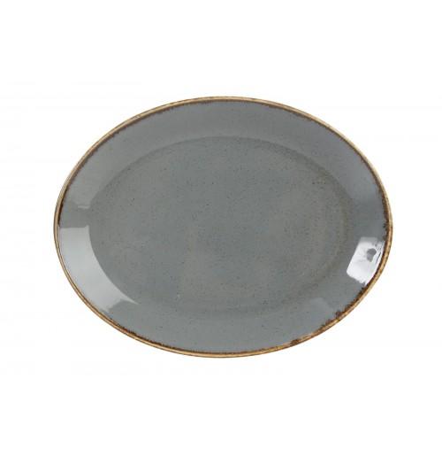 Блюдо овальное 31 см Seasons темно-серое, фарфор
