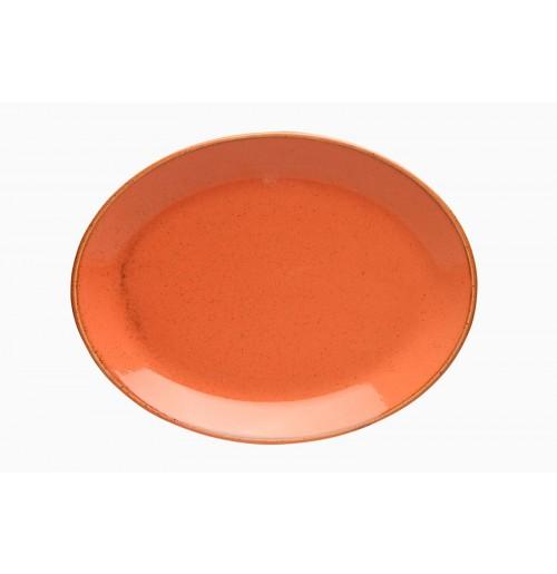 Блюдо овальное 31 см Seasons оранжевое, фарфор