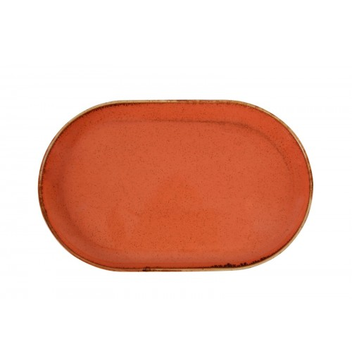 Плато овальное 32х20 см Seasons оранжевое, фарфор