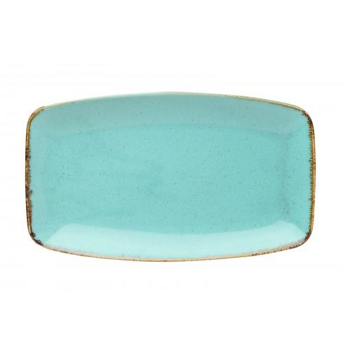 Блюдо прямоугольное 31х18 см Seasons бирюзовое, фарфор