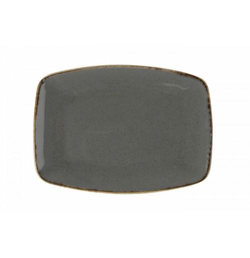 Блюдо прямоугольное, Seasons темно серый, фарфор, 32см