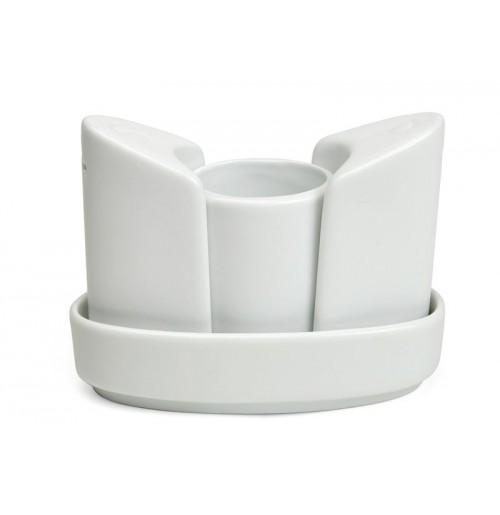 Набор для специй 4 предмета: солонка, перечница, стакан для зубочисток на подставке, костяной фарфор