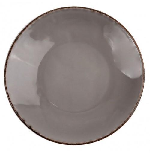 Тарелка глубокая Fortuna D 22.5 см, серая, керамика