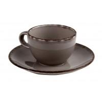 Набор Espresso Fortuna: чашка 100 мл и блюдце 13.5 см серый, керамика