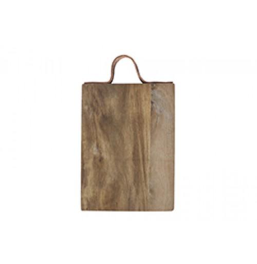 Доска сервировочная с кожаным хлястиком 26 x 18 см, акация