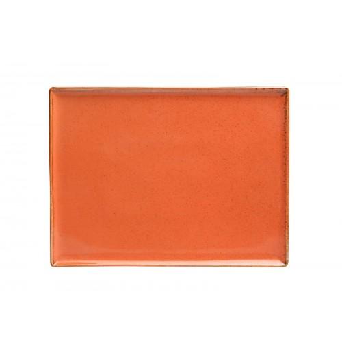 Блюдо прямоугольное 35х26 см Seasons оранжевое, фарфор