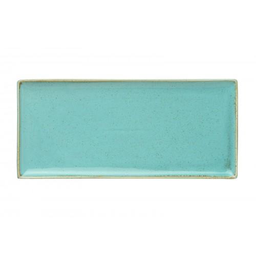 Плато прямоугольное 35х16 см Seasons бирюзовое, фарфор