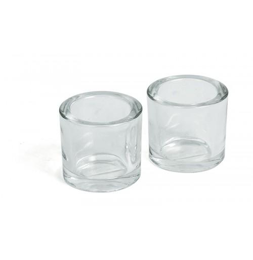Подсвечник круглый 2 шт., прозрачное стекло