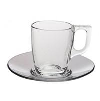 Набор  Kaffe Voluto: чашка 250 мл и блюдце 14 см, каленое стекло