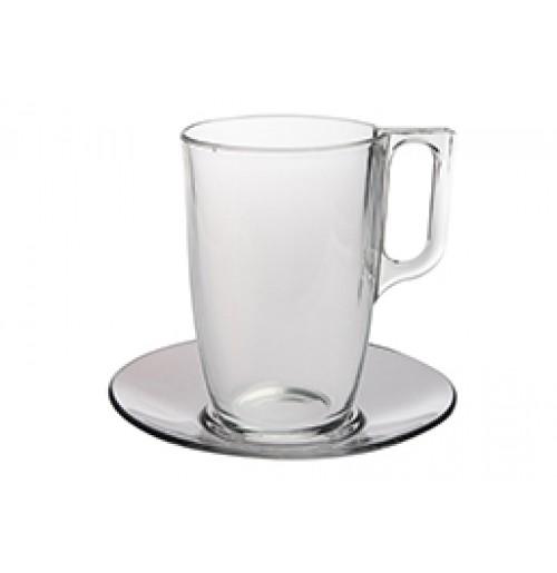 Набор  Kaffe Voluto: кружка 400 мл, блюдце 14 см, каленое стекло