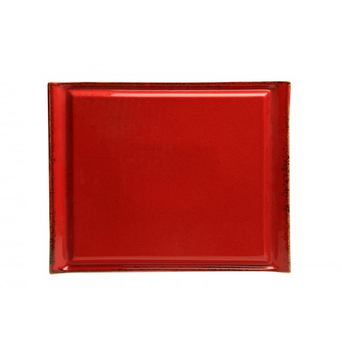 Плато для стейка Seasons красный, фарфор 32х26 см