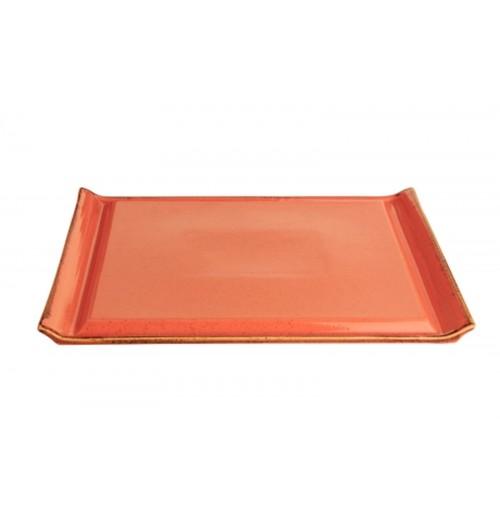 Плато для стейка Seasons оранжевый, фарфор 32х26 см