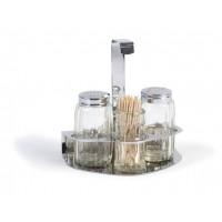 Набор: соль, перец, зубочистки, стекло и нержавеющая сталь