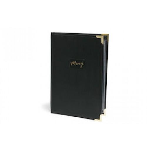 Папка для меню А4 34х23 см, черная с медными уголками, искусственная кожа