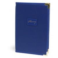 Папка для меню А4 34х23 см (ОСТАТОК 1 ШТ), синяя с медными уголками, искусственная кожа
