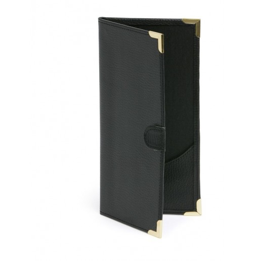 Папка для счета 22x10.6 см черная, искусственная кожа