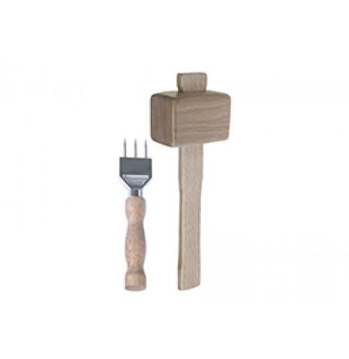 Набор 3 в 1: мадлер, вилка и молоток для колки льда, дерево и нержавеющая сталь