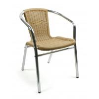 Кресло Alu-bistro бежевое (ОСТАТОК 1 ШТ),  алюминий и ротанг