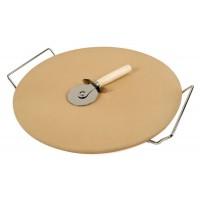 Набор : керамический камень для приготовления пиццы, подставка из нержавеющей стали и нож для пиццы из нержавеющей стали и пластика
