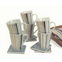 Набор: 6 кружек 260 мл  с блюдцами- подставками в коричнево-бежевых тонах, керамика