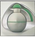 Термос  1  л  с зелеными деталями, колба-стекло и корпус- хром