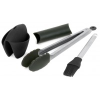 Набор для барбекю: прихватка, пинцет-лопатка, кисть, нержавеющая сталь и силикон