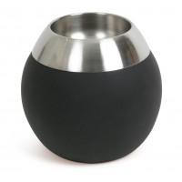 Ваза силиконовая черная 18 см с металлической отделкой