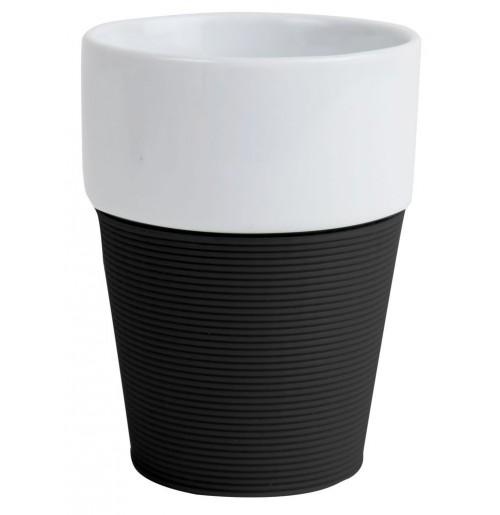 Кружка 200 мл Silikon, черная/белая, керамика/силикон