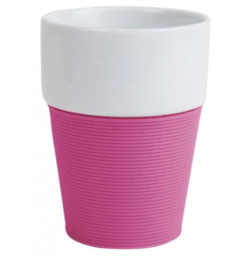Кружка 200 мл Silikon, розовая/белая, керамика/силикон