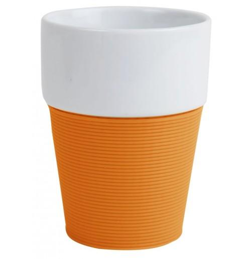 Кружка 200 мл Silikon, оранжевая/белая,керамика/силикон