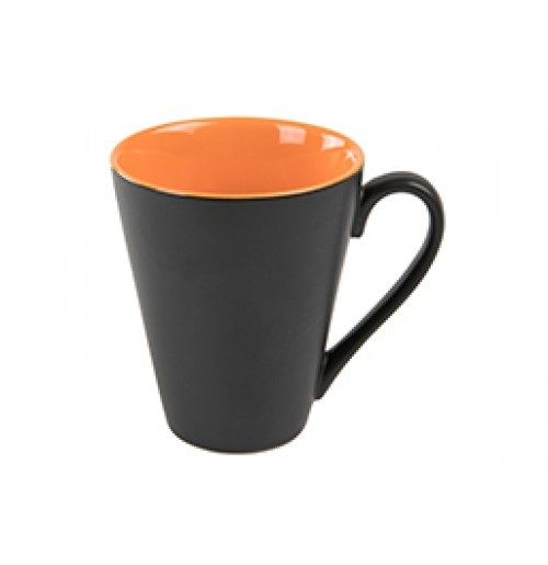 Кружка Attila 200 мл черная матовая/оранжевая глянцевая, керамика
