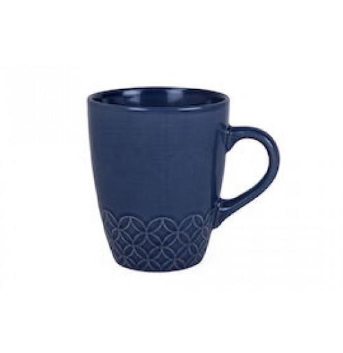 Кружка Flora с тиснёным орнаментом 350 мл синяя, керамика