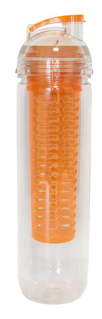Бутылка для воды 0.75 л с ёмкостью для льда / фруктов  оранжевая, поликарбонат