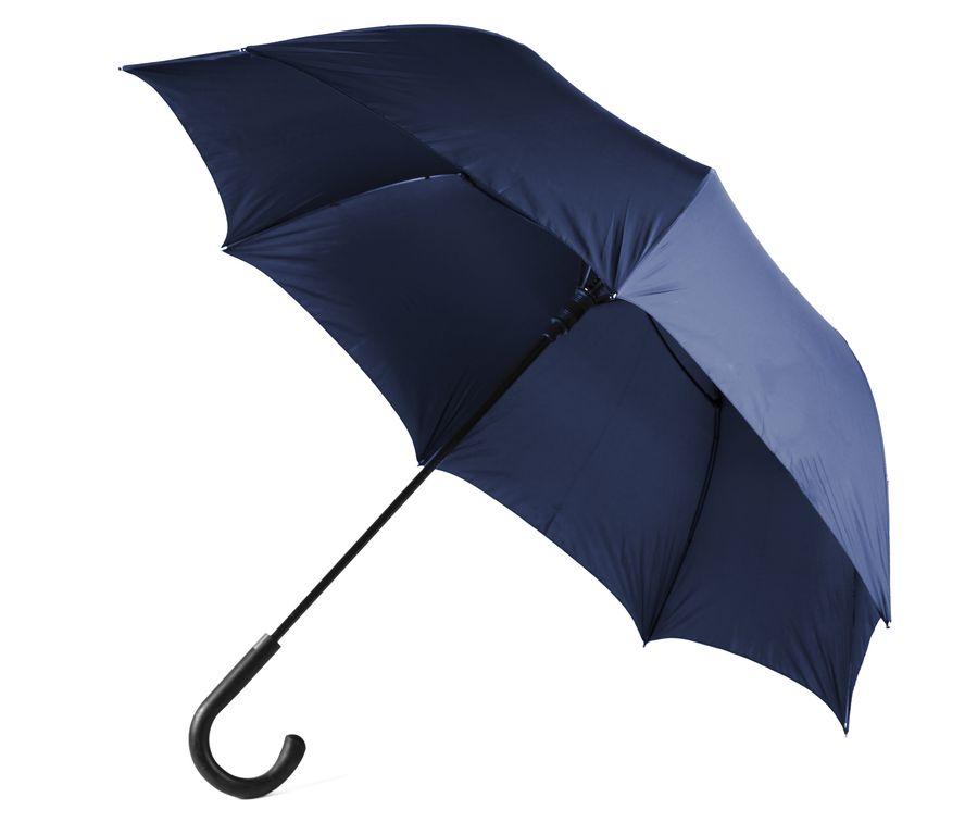 Зонт-трость противоштормовой полуавтомат синий, нейлон